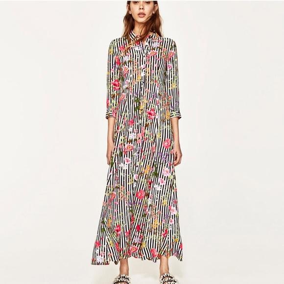 62375e04 Zara Dresses   Floral Striped Maxi Summer Dress   Poshmark